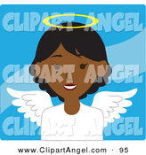 Illustration Vector of an African American Female Avatar Angel over Blue by Rosie Piter