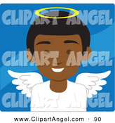 Illustration Vector of an African American Male Avatar Angel over Wavy Blue by Rosie Piter