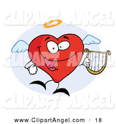 Illustration Vector of an Angel Red Heart Character Flying with a Lyre in Hand by Hit Toon