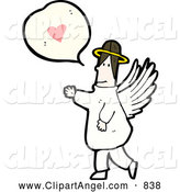 Illustration Vector of an Angel with a Heart Bubble by Lineartestpilot