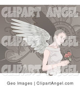 Illustration Vector of an Angelic Woman with Wings, Holding Roses on a Gray Background by AtStockIllustration