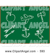 Illustration Vector of an Apple, Airplane, Axe, Arrows, Anchor and Angel Sketched in Chalk on a Green Chalkboard by Qiun