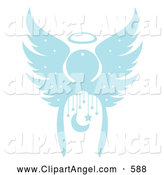 Illustration Vector of an Beautiful Blue Christmas Angel with a Crescent Moon and Stars by Cherie Reve