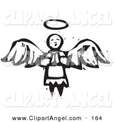 Illustration Vector of an Black and White Carved Praying Angel with Halo and Wings by Xunantunich