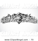 Illustration Vector of an Black and White Floral Cupid Border Design Element on Gray by BestVector