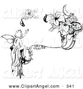 Illustration Vector of an Black and White Injured Fairy Reaching for Its Broken Wing near Flowers by Cherie Reve