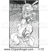 Illustration Vector of an Black and White Star Angel Woman by Prawny Vintage
