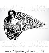 Illustration Vector of an Black and White Strong Male Angel with Long Wings over White by BestVector