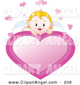Illustration Vector of an Blond Cupid Baby with White Angel Wings Looking over a Pink Heart Sign by Pushkin
