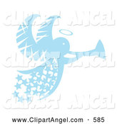 Illustration Vector of an Blue Christmas Angel with Stars and a Horn, on White by Cherie Reve
