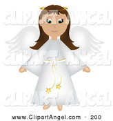 Illustration Vector of an Brunette Christmas Angel in a White Robe with Wings and Halo by Pams Clipart