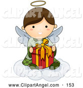 Illustration Vector of an Cute Angel with Halo Sitting on a Cloud with a Gift by BNP Design Studio