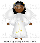 Illustration Vector of an Cute Black Christmas Angel with Wings in a White Robe by Pams Clipart