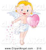 Illustration Vector of an Cute Blond Boy Angel Scattering Pink Hearts on White by Pushkin