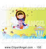 Illustration Vector of an Cute Little Girl and Cat Floating on a Cloud and Listening to Music by Mayawizard101