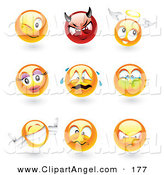 Illustration Vector of an Digital Collage of Sphere Emoticon Faces by TA Images