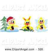 Illustration Vector of an Digital Collage of Yellow Christmas, Easter and Angel Ducks with Cameras, on White by Kaycee