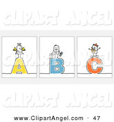 Illustration Vector of an Digital Set of Stick People Character Letters by NL Shop