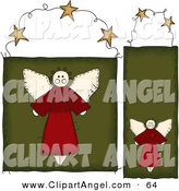 Illustration Vector of an Digital Set of Two Folk Styled Angel Door Hanger Signs on White by Inkgraphics