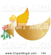 Illustration Vector of an Golden Christmas Flying Angel with Wings and Halo Carrying a Pine Bough by Pams Clipart