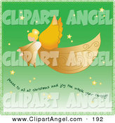 Illustration Vector of an Graceful Golden Angel with Wings Flying Through a Green Starry Sky with Text by Pams Clipart