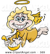 Illustration Vector of an Grinning Blond White Female Angel with a Lyre by Dennis Holmes Designs
