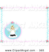 Illustration Vector of an Happy Angel and Flower Border Frame over White by