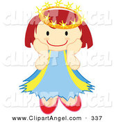 Illustration Vector of an Happy Crowned Caucasian Angel Smiling on White by Cherie Reve