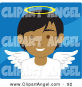 Illustration Vector of an Indian Male Avatar Angel over a Waving Blue Background by Rosie Piter