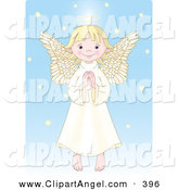 Illustration Vector of an Innocent Blond Female Caucasian Angel with a Halo, Holding Her Hands Together by Pushkin