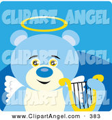 Illustration Vector of an Innocent Blue Teddy Bear Angel with a Halo, Wings and Lyre on a Blue BackgroundInnocent Blue Teddy Bear Angel with a Halo, Wings and Lyre on a Blue Background by Dennis Holmes Designs