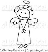 Illustration Vector of an Innocent Flying Stick Figure Angel Girl with a Halo Overhead by C Charley-Franzwa