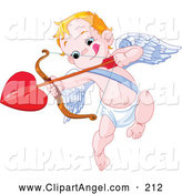 Illustration Vector of an Little Cupid Biting His Lip and Aiming a Heart Arrow, on White by Pushkin