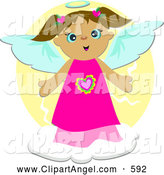 Illustration Vector of an Outgoing Cute Brunette Angel in a Pink Dress on a Cloud over Yellow by