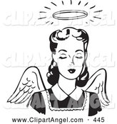 Illustration Vector of an Pretty Retro Black and White Angel Woman with Wings and a Halo by BestVector