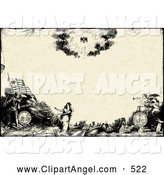 Illustration Vector of an Sepia Vintage Scene of Angels, Knights and a Woman by BestVector