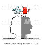 Illustration Vector of an Silhouetted Head with Stick People Angel and Devil Resting on Top by NL Shop