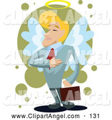Illustration Vector of an Successful Blond Businessman with Angel Wings and a Halo, Holding His Hand to His Chest by Mayawizard101