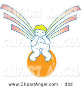 Illustration Vector of an Surprised Asian Angel Sitting on an Orange Orb by Cherie Reve