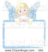 Illustration Vector of an Sweet Blond Angel Girl Looking over a Blank White Sign by Pushkin