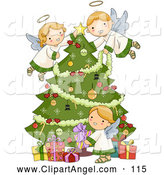 Illustration Vector of an Three Adorable Angels Trimming a Green Christmas Tree and Arranging Presents by BNP Design Studio