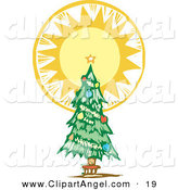Illustration Vector of an Trimmed Christmas Tree with an Angelic Shining Tree Topper Star by Xunantunich