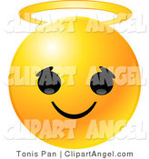 Illustration Vector of an Yellow Emoticon Face with a Innocent Expression and a Golden Halo on Its Head by Tonis Pan