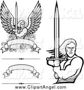 Illustration Vector of Angel Warriors Holdinh Swords and Blank Banners by BestVector