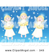 Illustration Vector of ATrio of Cute Innocent Singing Angels with Snowflakes on Blue by Pushkin