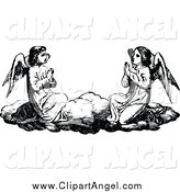 Illustration Vector of Black and White Angels Praying on a Cloud by Prawny Vintage