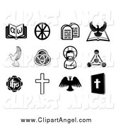 Illustration Vector of Black and White Christian and Angel Icons by AtStockIllustration