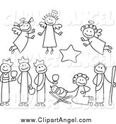 Illustration Vector of Black and White Nativity Scene People by C Charley-Franzwa