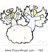 Illustration Vector of Blond Caucasian Angels in the Clouds by Lineartestpilot