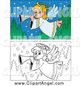 Illustration Vector of Colored and Lineart Angel Scenes by Visekart